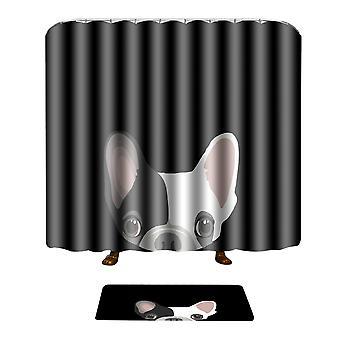 YANGFAN Anti Slip Shower Curtain & Bath Mat Set