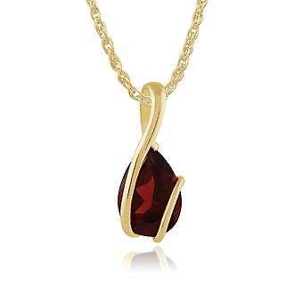 Classic Pear Garnet Pendant Necklace in 9ct Yellow Gold 27049