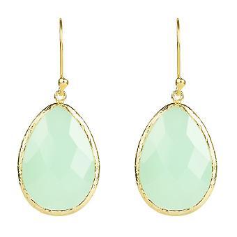 Latelita 925 Sterling sølv øreringe Tear Drop 22ct guld Aqua grøn kalcedon