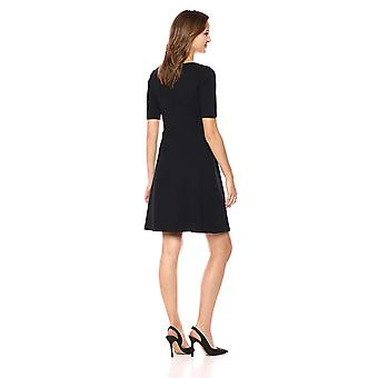 Lark & Ro Women's Half Sleeve Twist Front Fit and Flare Dress, Black, 8