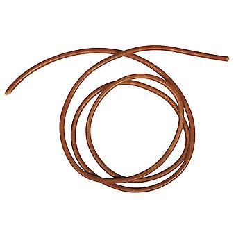 100cm Medium Brown Real Leather 1.5mm Cord for Adult Crafts | Twine & Elastic