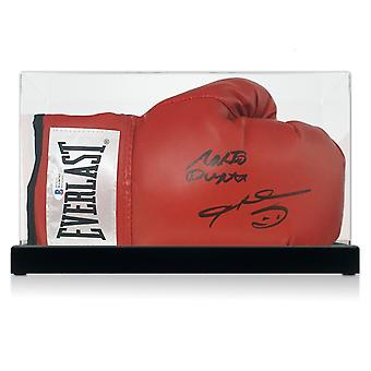 Sugar Ray Leonard And Roberto Duran Signed Red Boxing Glove. In Display Case