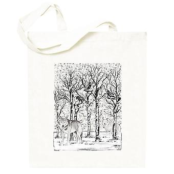 Wolven in het winterbos Totebag