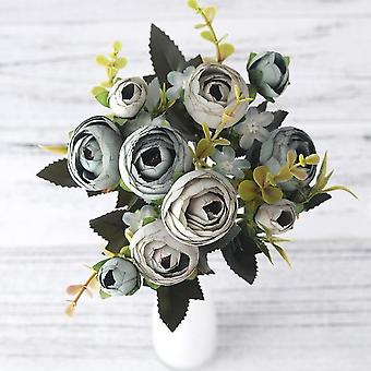 European Vintage Artificial Silk Tea Rose Flowers Bouquet For Wedding Home