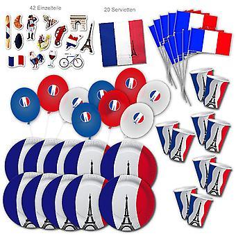 Ranska Party Set XL 101-osainen 10 vierasta osapuoli Franceparty Paris syntymäpäivä koristelu paketti
