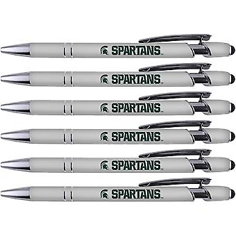 Greeting Pen Michigan State Soft Touch Coated Metal 6 Pack 30541