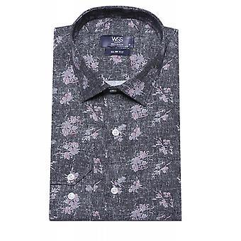 Kukkakuvioinen musta slim fit paita | Kävi koulua wessi