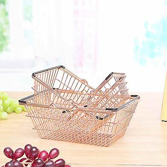 Portable Mini Supermarket Shopping Basket- Home Debris Storage Box Makeup Organizer Kids Toys Rose Gold
