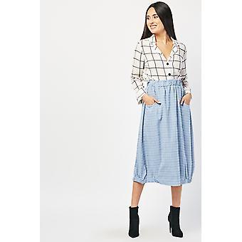 Gathered Hem Textured Midi Skirt