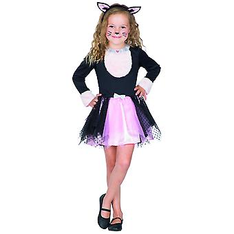 Kätzchen Kinderkostüm Karneval Kätzchenkleid Tüllkleid Mädchen Haarreif Ohren