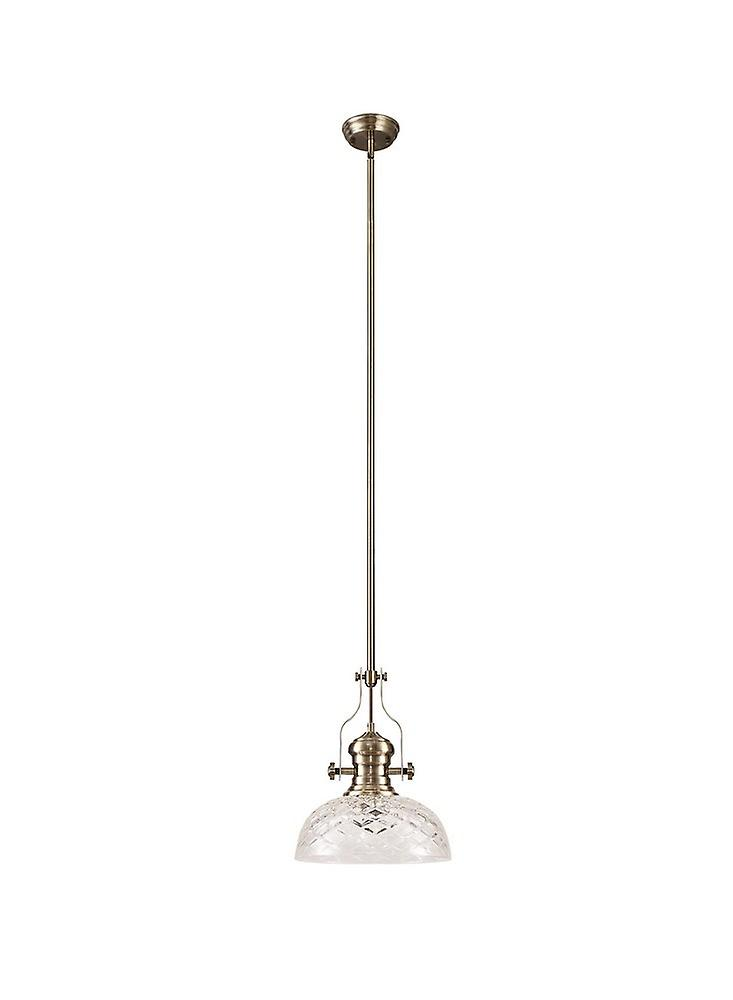 Dome Ceiling Pendant With 30cm Flat Round Patterned Shade, 1 x E27, Antique Brass, Clear Glass