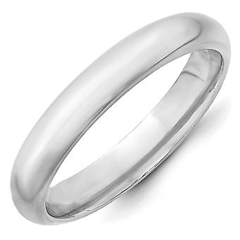 14 k oro bianco solido lucido Engravable Comfort fit 4mm Comfort-Fit Band Ring - Ring Size: 4-14
