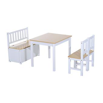 Homcom 4PC Wooden Children Table 2 Chairs Toy Storage Bench Seating Stool Kids Furniture Set