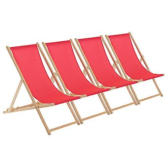 Traditional Adjustable Wooden Beach Garden Deck Chair - Pink - Pack of 4