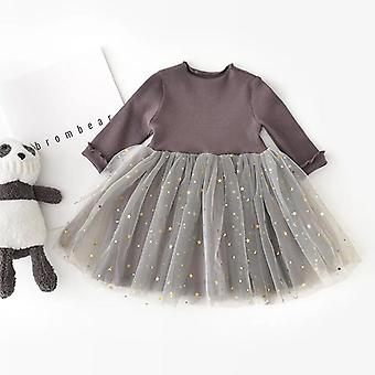 Winter Kids Dresses For- Long Sleeve Clothing Sequins Stars Tutu, Casual School