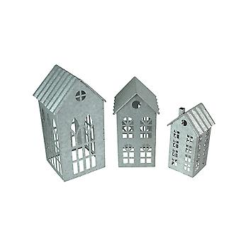 Set of 3 Country Farmhouse Galvanized Metal House Shaped Candle Holders