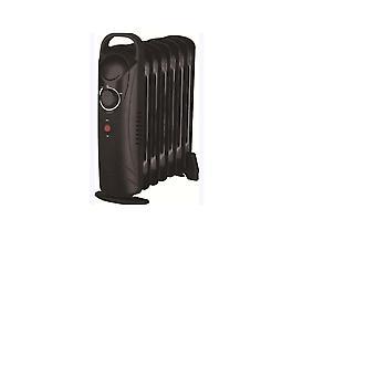 9 Fin Mini 1000W Oil Filled Radiator Black Freestanding Portable