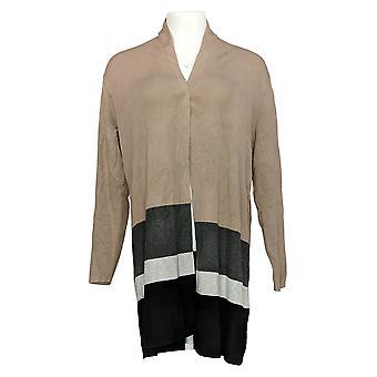 Belle By Kim Gravel Women's Sweater Color-Block Cardigan Beige A367268