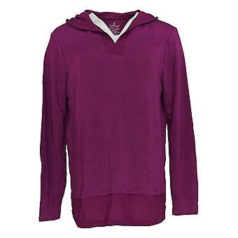 Cuddl Duds Women's Sweater Ultra Soft Hooded Tuniek V Neck Purple A346814