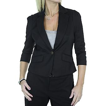Women's Smart 3/4 Sleeve Blazer Ladies Slim Fully Lined Cropped Lapel Formal Work Evening Business Suit Jacket Black 10-12