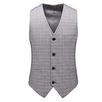 YANGFAN Men's Suit Vest V-Neck 4 Button Plaid Slim Formal Business Casual Waistcoat