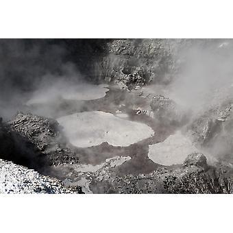 2007 年 11 月 - 原油と黒鉛ワイ O タプ地熱地域タウポ火山帯ニュージーランド ポスター印刷で色の悪魔インク ポット温泉