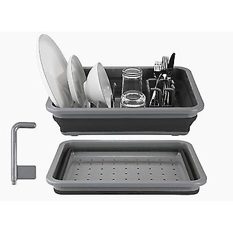 Summit Pop Dish Drainer with Draining System Blue Plastic Camping Plates Rack - Black / Grey