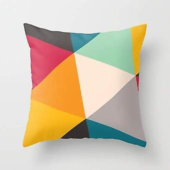 Double Side Triangles Printed Pillow Cover