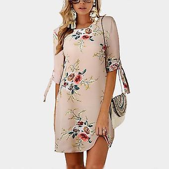 Women Summer Dress Style Floral Print Chiffon Beach Dress
