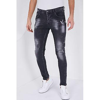Jeans With Splashes - Slim Fit - 5501C - Black