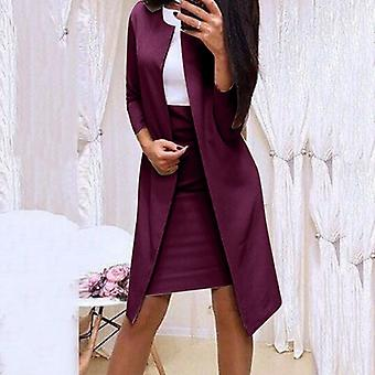Women Blazer Coat + Slim Mini Dress 2pcs Set Lady Workwear O-neck Dress Suits