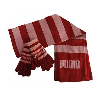 Puma Since 48 Knit Gloves & Scarf Winter Kids Set Stripe Red 051110 01 A15