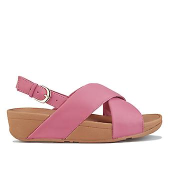 Women's Fit Flop Lulu Leather Cross Back Strap Sandals in Pink