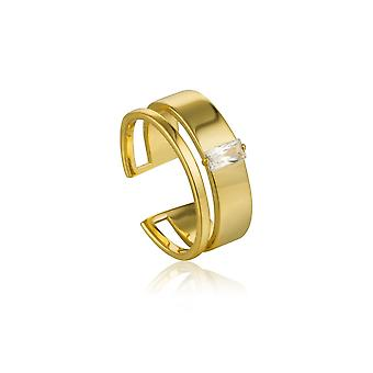 Ania Haie Argent Shiny Gold Plaqué Glow Wide Ajustable Ring R018-02G
