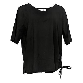 Belle By Kim Gravel Women's Top TripleLuxe Knit Ruched Side Black A351544