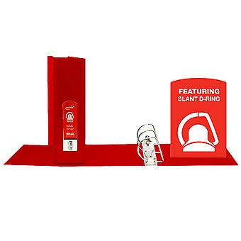 """Bazic Slant D Ring View Binder With 2 Pockets, 3"""", Red"""