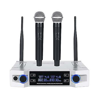 Professional UHF Wireless Microphone System 2 Channel 2 Cordless Handheld Mic Kraoke Speech Party su
