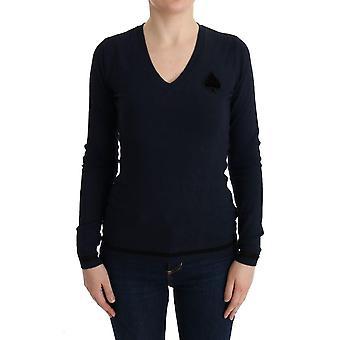 Suéter viscose azul-v-pescoço azul fantasiado