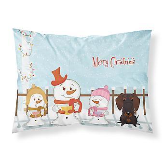 Caroline's Treasures Merry Christmas Carolers Wire Haired Dachshund Chocolate Fabric Standard Pillowcase Bb2460Pillowcase, Multicolor