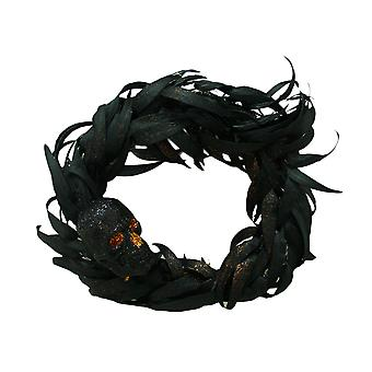 Black Skull 17  Inch Diameter Gothic Halloween Decor Feather Wreath for Front Door, Wall or Window Decor