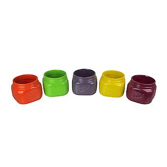 Set of 5 Bright Colorful Ceramic Ball Jar Mini Planters 4.5 Inches High