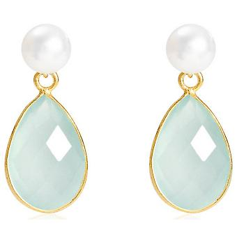 Pearls of the Orient Clara Freshwater Pearl Chalcedony Drop Earrings - Aqua
