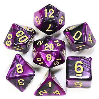 Polyhedral dobbelstenen set met pouch dubbele kleuren gouden nummers