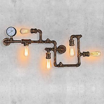 Jahrgang WasserRohr WandLampe Industrielle Retro Metall mit Fnf Edison Lichtquellen Steampunk Zauberstab