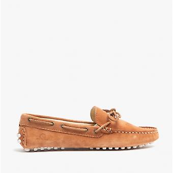 Chatham Aria Ladies Leather Driving Moccasin Shoes Cognac
