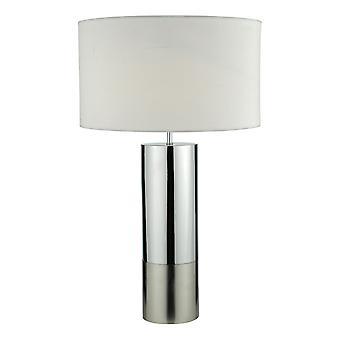 Lampa stołowa 2-tonowa podstawa polerowana chromowana i chrom szczotkowany z okrągłym odcieniem bębna
