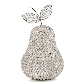 """17.5"""" Jumbo Faux Crystal Silver Pear Sculpture"""