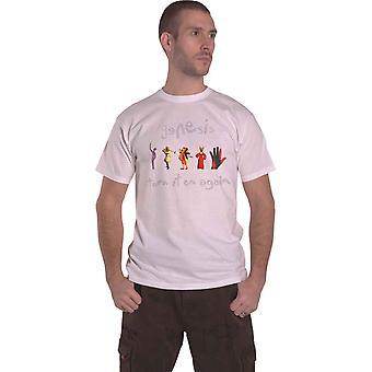 Genesis T Shirt slå den på igjen band logo nye Official mens White