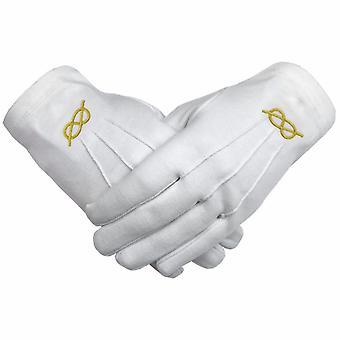 Masonic gold knot machine embroidery white cotton gloves