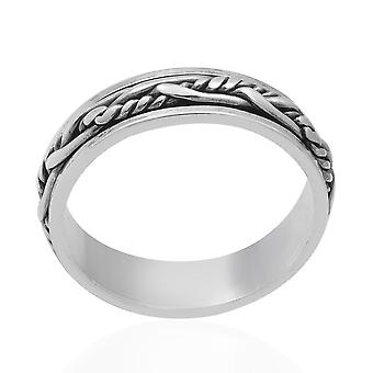 TJC Silver Twist Band Ring for Unisex Sterling Stamped Birthday Gift/Mother